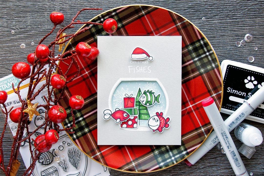 Simon Says Stamp | Christmas Fishes Card by Yana Smakula. Create a Christmas Fish tank!