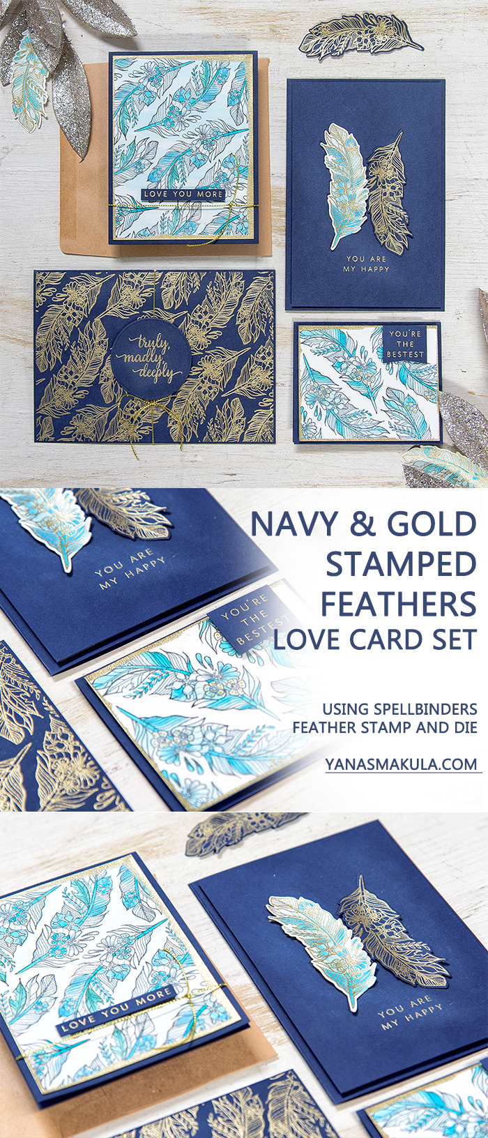 Navy & Gold Stamped Feathers Love Card Set