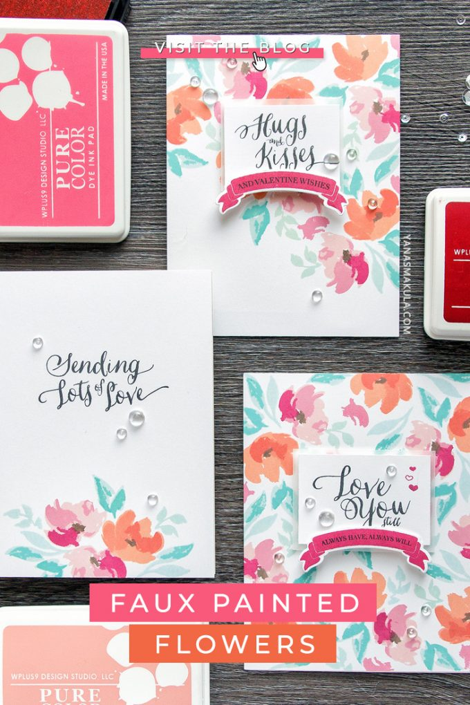 WPlus9   Floral Valentines - Background Stamping 3 Ways. Handmade cards by Yana Smakula #cardmaking #greetingcards #stamping