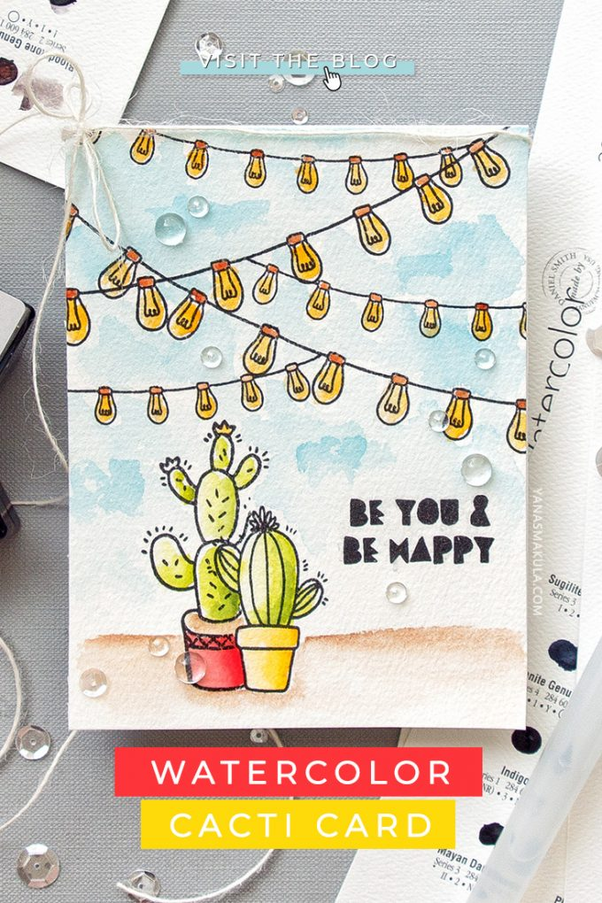Altenew | Watercolor Cacti Card by Yana Smakula featuring Altenew Be Strong Stamps #altenew #cardmaking #stamping