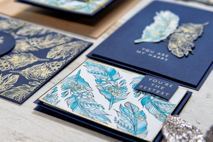 Spellbinders | Navy & Gold Love Watercolor Cards