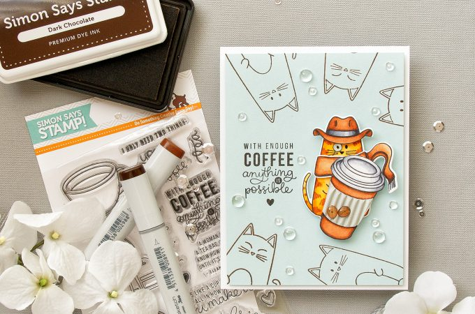 Simon Says Stamp | With Enough Coffee Anything Is Possible. Cat-Detective Card