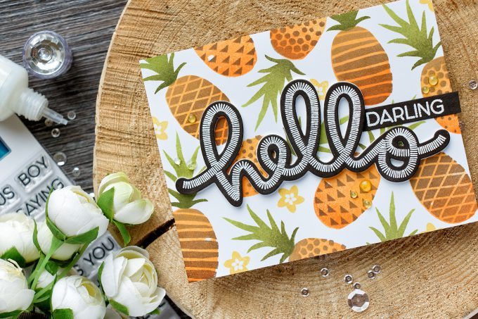 Concord & 9th | Pineapple Stamped Background and die cut Hello card. SAY HELLO STAMP SET. POP ART PINEAPPLE