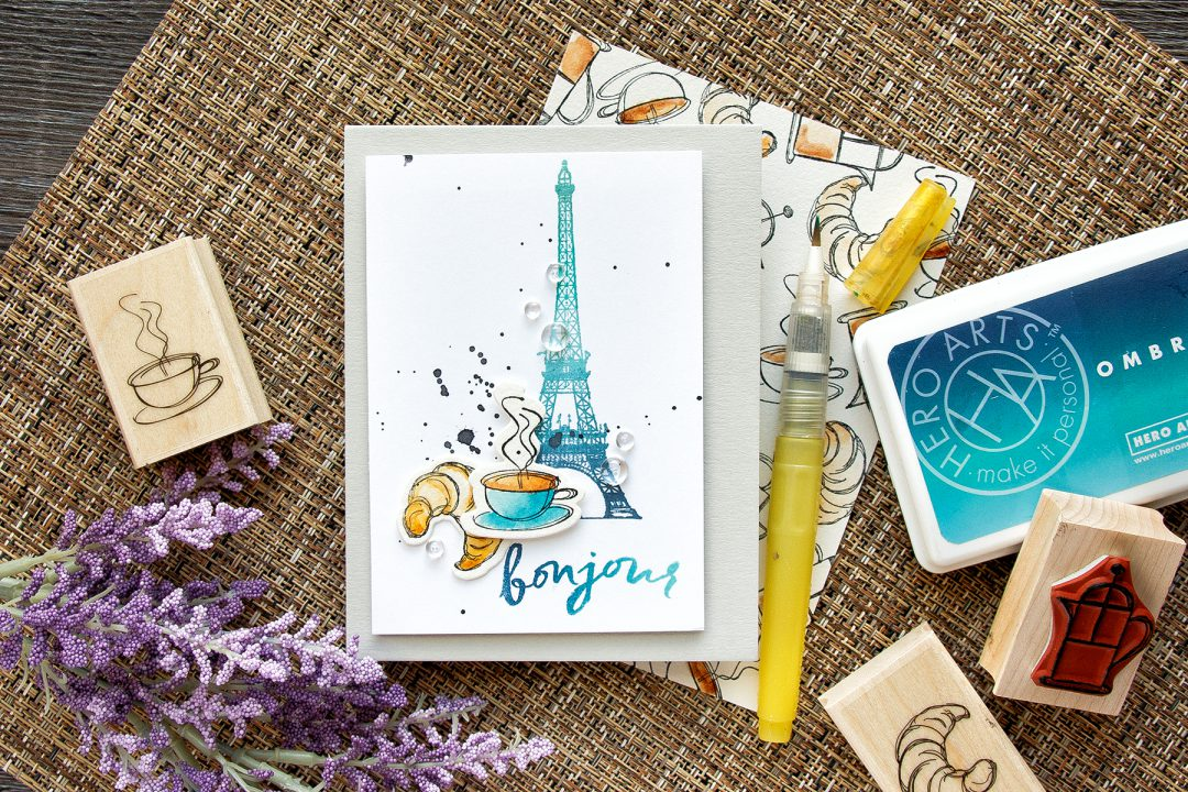 Hero Arts | Coffee & Croissant for Breakfast card. Parisian Style. Watercolor croissant & coffee.