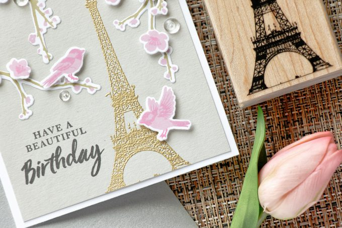 Hero Arts | Spring in Paris Birthday Card using Birds & Blossoms & Eiffel Tower Stamps