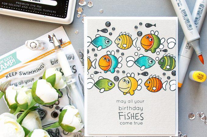 Simon Says stamp | Birthday Fishes Card