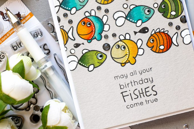 Simon Says stamp | Birthday Fishes Card