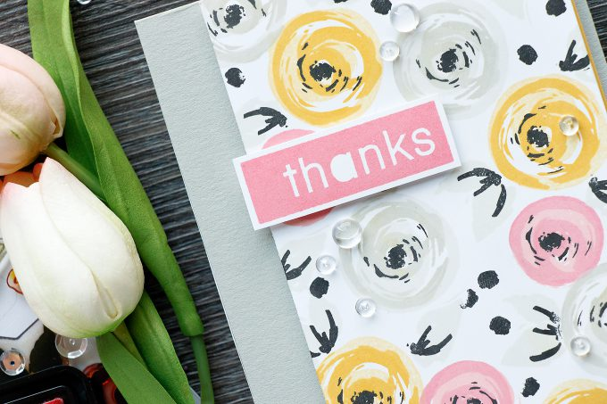 Simon Says Stamp | Floral Thank You Card using Many Thanks and Happy Block Greetings stamp sets. Card by Yana Smakula