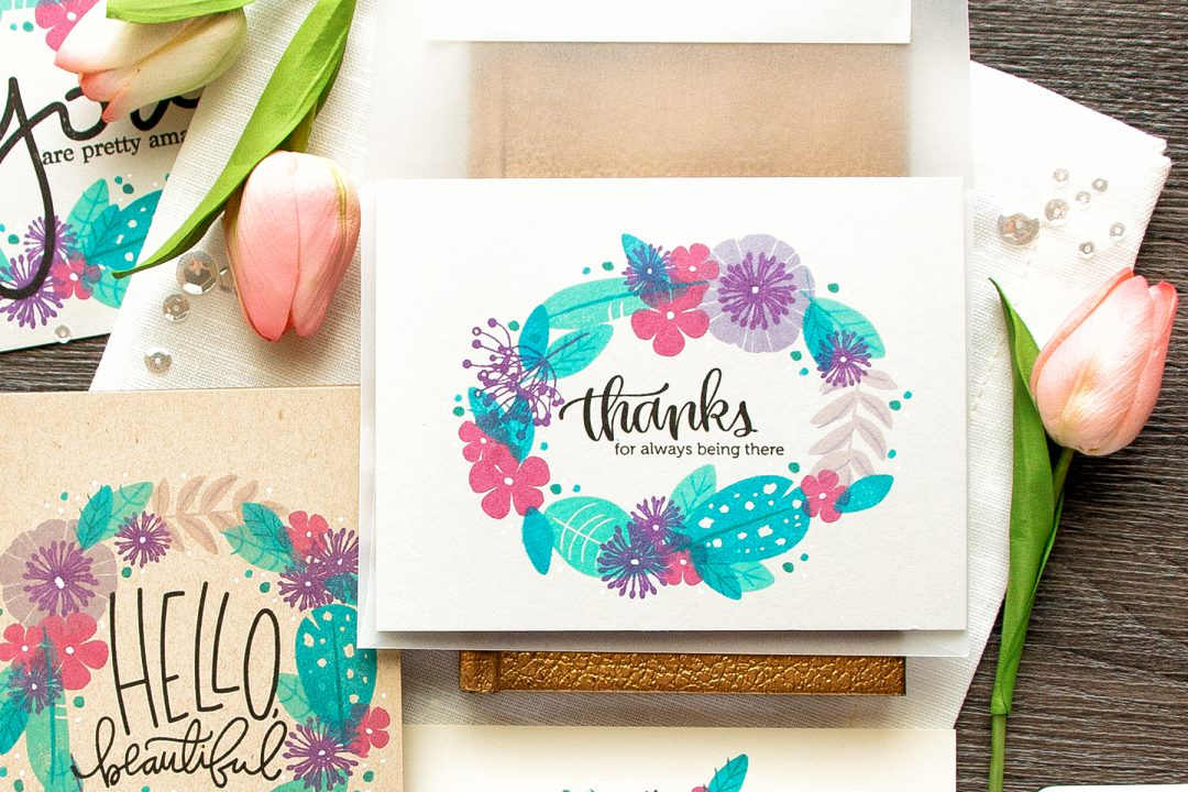 Simon Says Stamp | Quick Stamp Floral Wreath Cards with WPlus9 Feathers & Florals Stamp Set. Video
