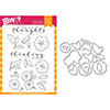 Wplus9 Modern Petunias Clear Stamp and Die Combo