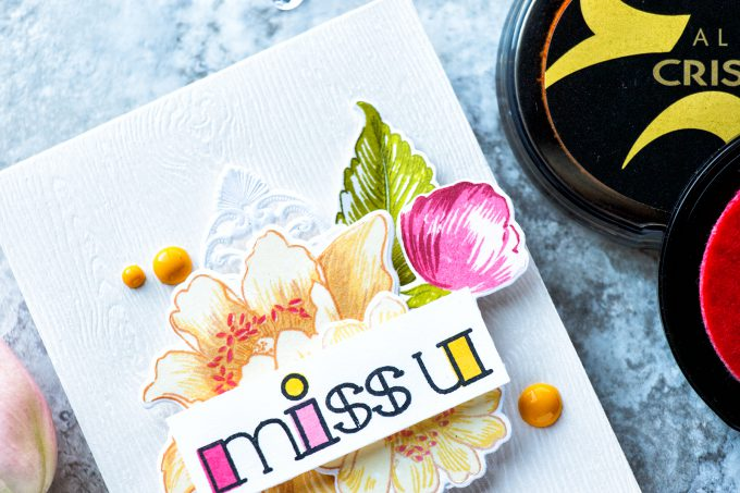Altenew | Miss You Floral Card using Garden Treasures and Filled Alpha
