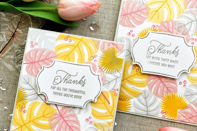 Papertrey Ink | Creating Stamped Patterns With the Help of Stamps and Dies. Video tutorial by Yana Smakula. Thank You Cards created using alm Prints and Gathered Garden stamps and coordinating dies