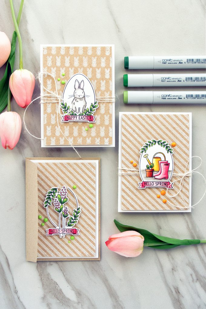 Simon Says Stamp | Quick Copic Colored Easter & Spring Cards using Spring Seeds stamp set. Cards by Yana Smakula