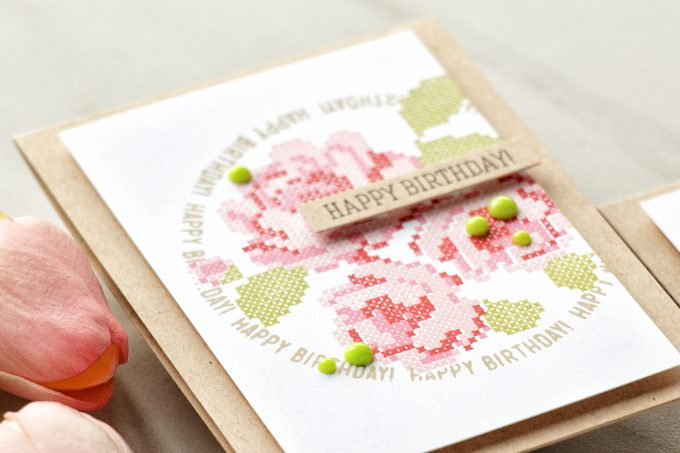Simon Says Stamp | Stamped Cross Stitched Roses with Waffle Flower stamps