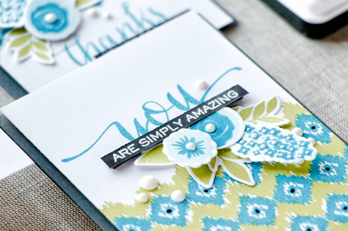 WPlus9 | A Background Study: Ikat. Floral Thank You cards by Yana Smakula using WPlus9 Borders & Backgrounds 1 Stamps, Fresh Cut Flowers Stamps and Hand Lettered Thanks Stamps