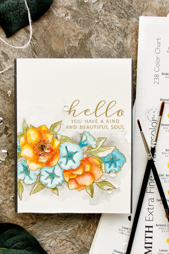 WPlus9 | Kind Soul Petunias and Anemones Watercolor card by Yana Smakula