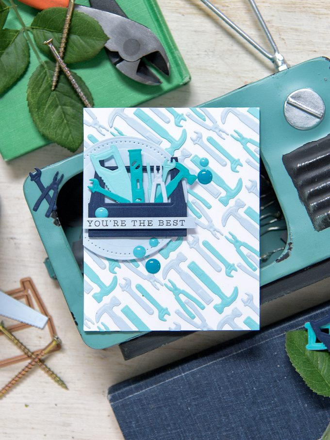 Spellbinders | Masculine (Father's Day card or card for guys and boys) You're The Best Card using Die D-Lites Toolbox Dies S3-262. Project by Yana Smakula.