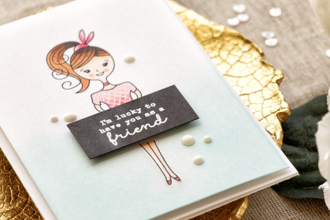 Hero Arts | Lucky To Have You As A Friend handmade card by Yana Smakula using Hero Arts Dress Up Stamp & Cut set DC211