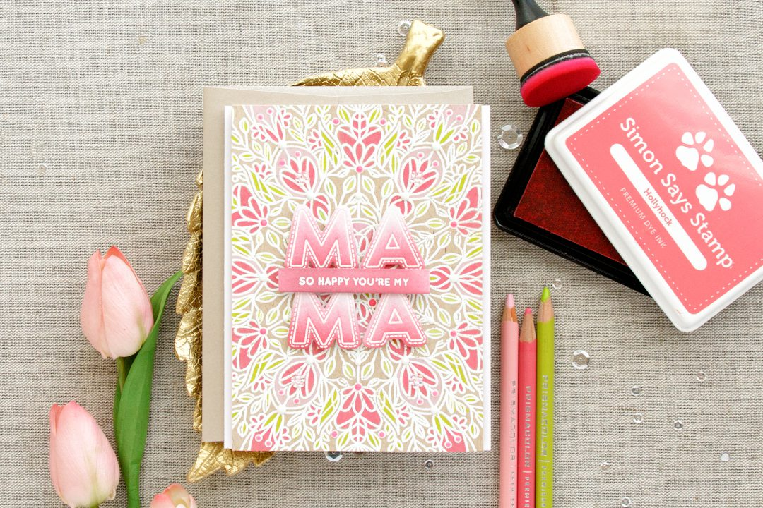 Simon Says stamp | So Happy You're My Mama. Jewel Paper with Nuvo Drops. Video + Blog Hop + Giveaway