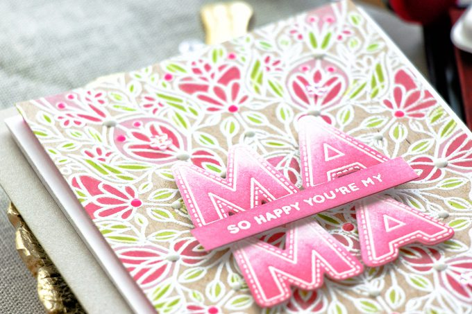 Simon Says Stamp | So Happy You're My Mama Card by Yana Smakula. Handmade Jewel Paper with Nuvo Drops