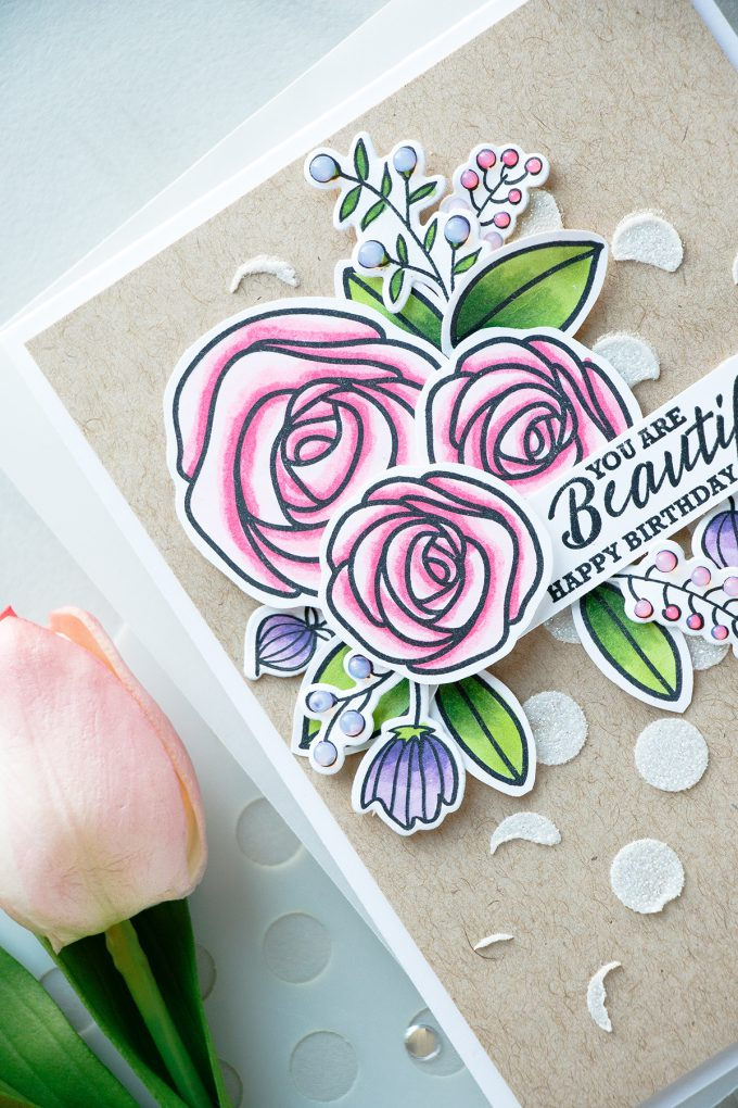 Simon Says Stamp | Floral Birthday Card with Sketch Ranunculus. Project by Yana Smakula