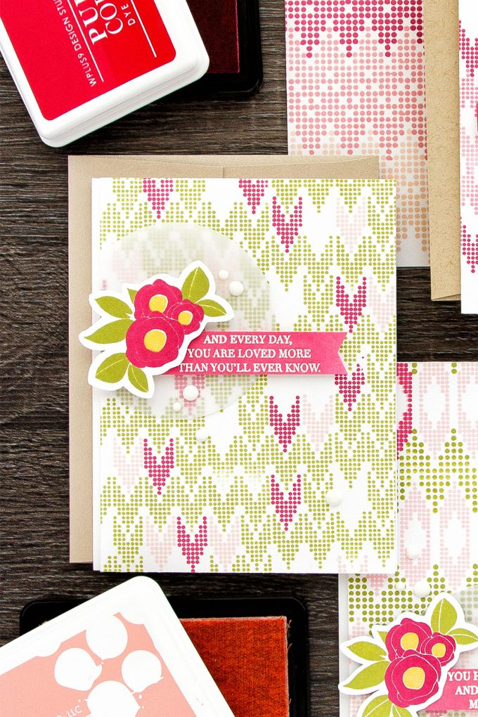 WPlus9 | A Background Study (Take Two): Chevron. Stamped feminine cards by Yana Smakula using WPlus9 Borders & Backgrounds 4,  Spring Blooms and Strictly Sentiments 4 Stamps