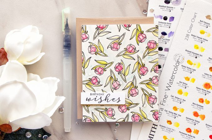 WPlus9 | Birthday Wishes Card by Yana Smakula with Modern Peonies Stamp Set