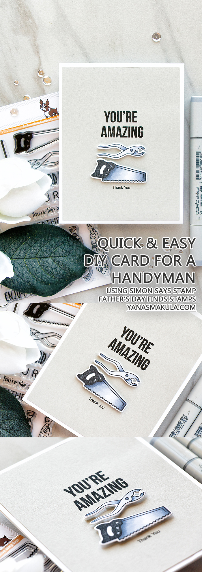 Simon Says Stamp | Quick & Easy Thank You Card For a Handyman by Yana Smakula. Using Simon Says Clear Stamps FATHER'S DAY FINDS SSS101624 Dads And Grads