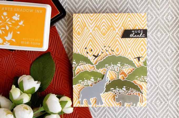 Hero Arts   Safari Huge Thanks Card. June My Monthly Hero Kit. Card by Yana Smakula
