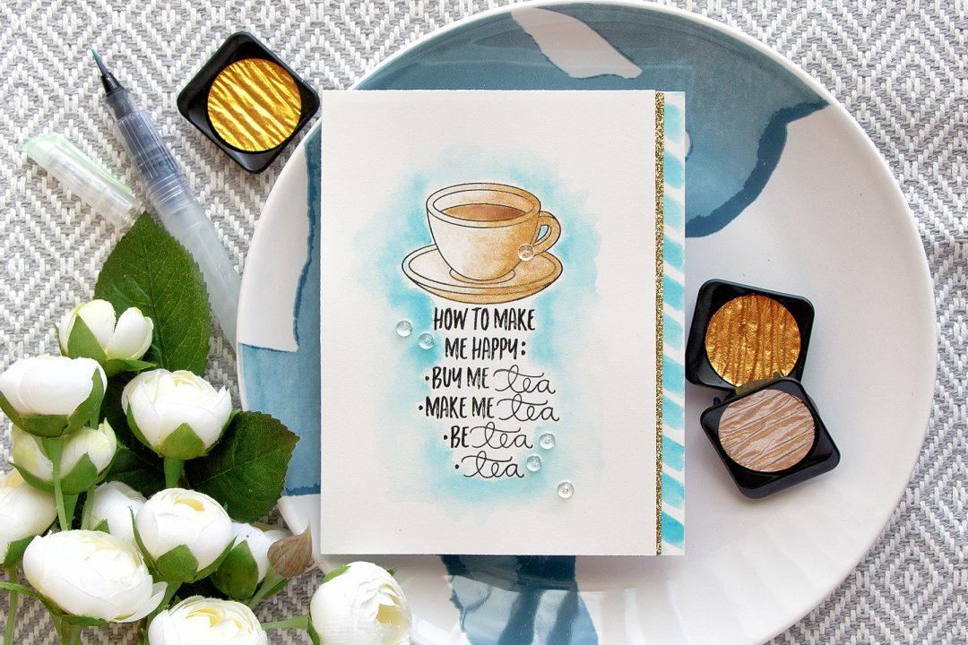 Simon Says Stamp | Make Me Tea... Card by Yana Smakula using CHOOSE HAPPY SSS101617 and COFFEE AND TEA SSS101695 stamps