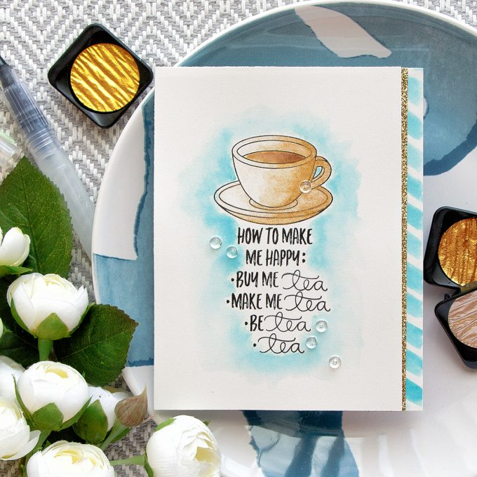 Simon Says Stamp | Make Me Tea... Card by Yana Smakula using CHOOSE HAPPY SSS101617 and COFFEE AND TEA SSS101695 stamps
