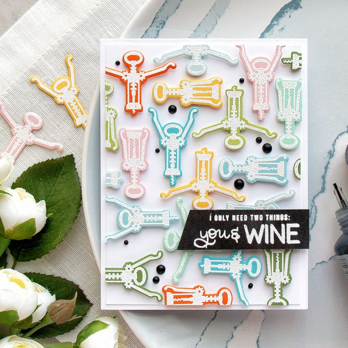 Simon Says Stamp | I Only Need Two Things: You & Wine Card by Yana Smakula. Using Simon Says stamp Wine Aerobics, Time for Wine & Coffee and Tea Stamps