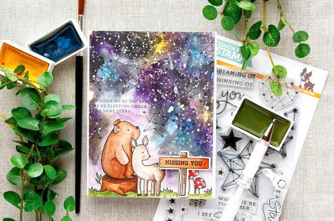Simon Says Stamp | How To Make Watercolor Galaxy Missing You Card. Video
