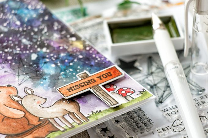 Simon Says Stamp   How To Make Watercolor Galaxy Missing You Card. Video