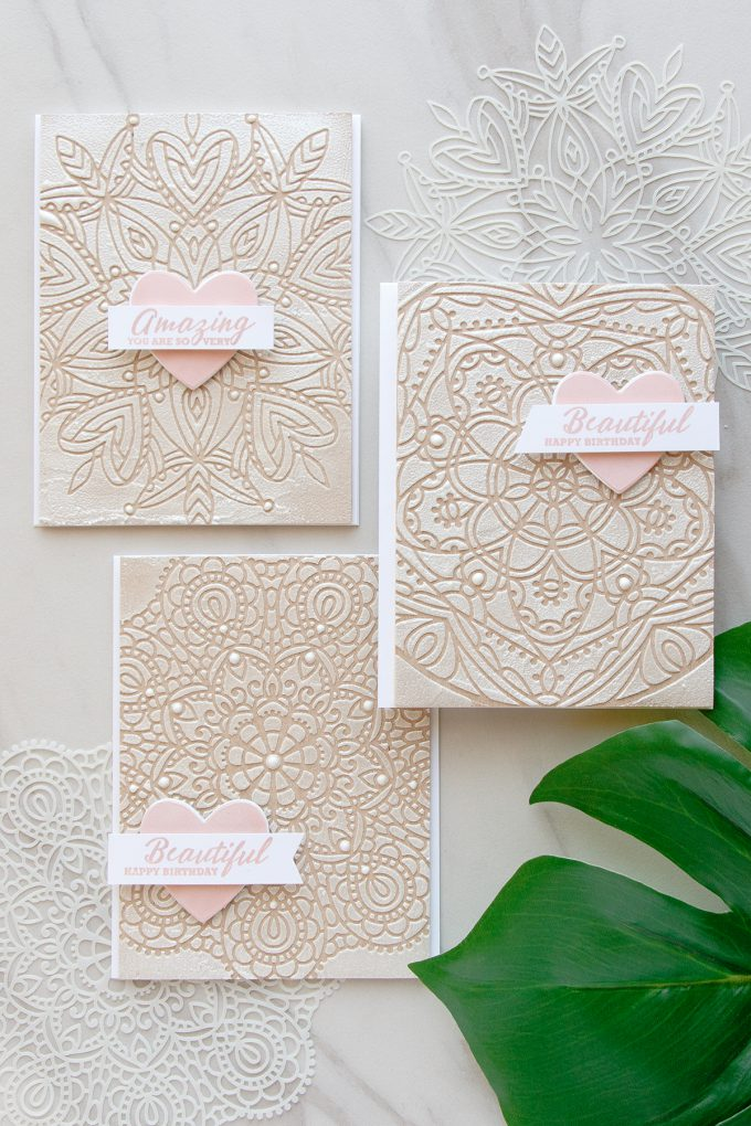 Simon Says Stamp | Textured Lace Cards using Star Medallion, Heart Mandala and Circular Lace stencils from Simon Says Stamp. Cards by Yana Smakula. Video tutorial