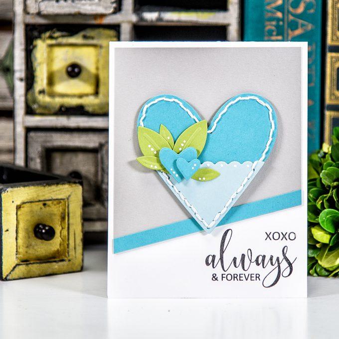 Spellbinders | Always & Forever Card using S3-281 Die D-Lites Hearts Etched Dies. Project by Yana Smakula