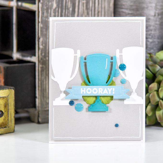 Spellbinders | Hooray Card using S3-280 Die D-Lites Trophy Etched Dies. Project by Yana Smakula