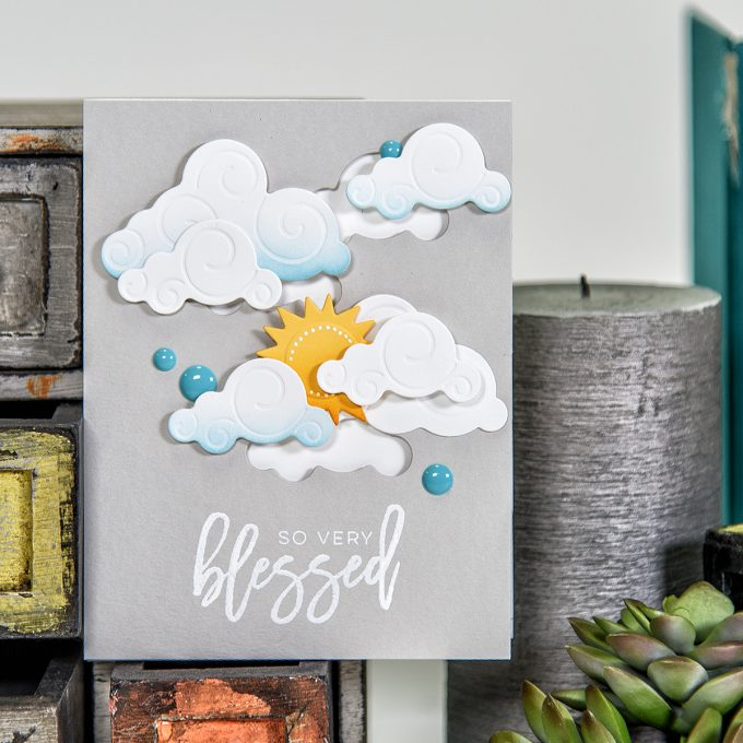 Spellbinders | So Very Blessed Card using S2-273 Die D-Lites Sun and Clouds Etched Dies. Project by Yana Smakula