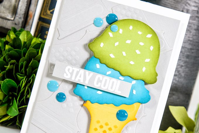 Spellbinders | Stay Cool Card using S3-278 Die D-Lites Ice Cream Yummy Etched Dies. Project by Yana Smakula