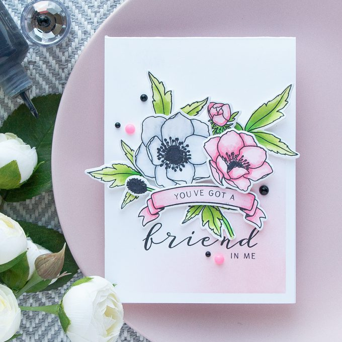 WPlus9 | Modern Anemones in Pink and White. You've got a friend in me card by Yana Smakula