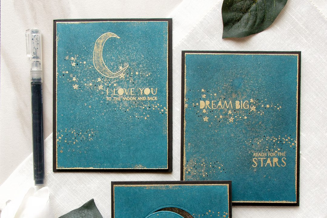 WPlus9 | Heat Embossed Stardust Cards 3 Ways