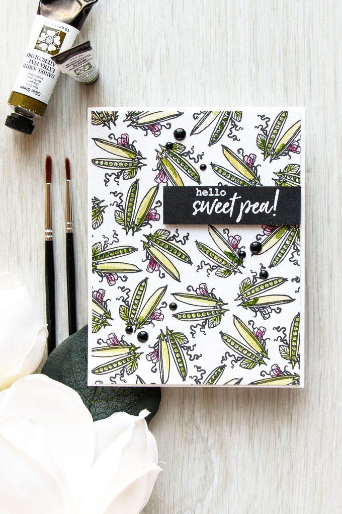 Hello Sweet Pea Card by Yana Smakula for Hero Arts