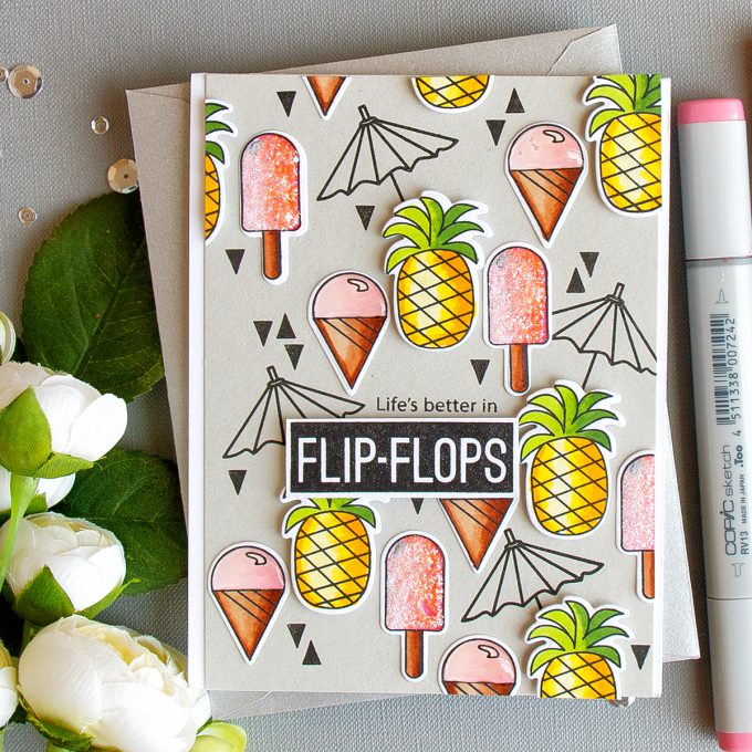 Simon Says Stamp | Ice Cream & Pineapples! Card by Yana Smakula created using Simon's Summertime Animals stamp set.