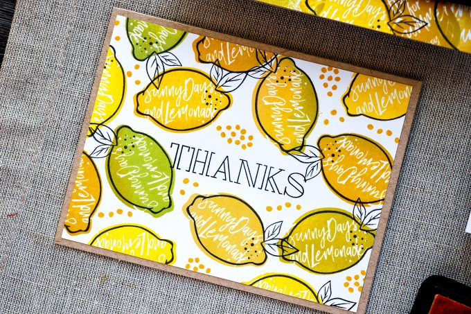 Simon Says Stamp | Multicolor Stamping using Solid Images. Video Tutorial - Dancing Fruit cards by Yana Smakula
