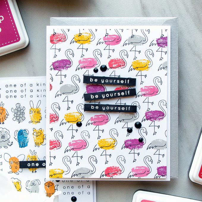 Simon Says Stamp | Faux Fingerprint Stamping - Quick & Funny Stamped Patterns. Be Yourself Card by Yana Smakula