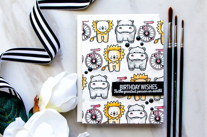 WPlus9 | Birthday Wishes Watercolor Pattern Card