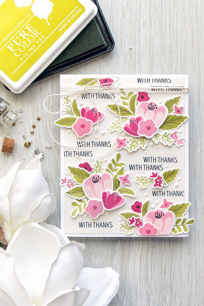 WPlus9 | Dimensional Floral Pattern with Southern Florals - With Thanks Card
