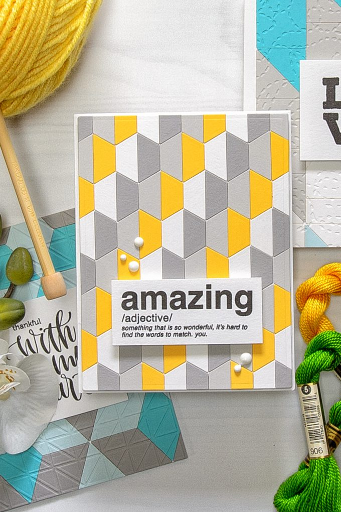 Spellbinders | Quilt It Collection - You Are Amazing Card. Using S2-274 Half Hex Quilt dies. Project by Yana Smakula