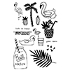 Flora and Fauna Flamingo Pool Party Clear Stamp