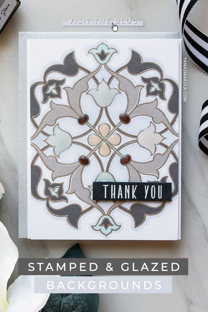 Altenew | Modern Stamped & Glazed Background Cards by Yana Smakula featuring Altenew Arabesque Medallion Stamp Set and Tonic Crystal Glaze Nuvo #cardmaking #altenew #greetingcard